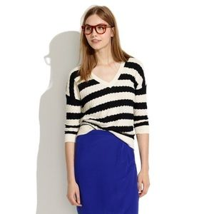Madewell Striped Lakeview Sweater In Black